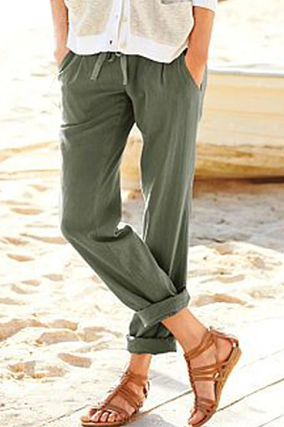 Solid Color Loose Cropped Straight Pants