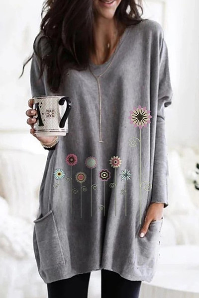 Casual V Neck Long Sleeve Floral T-Shirt