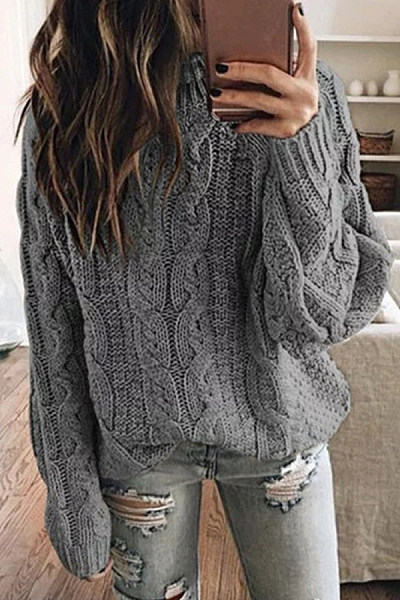 Round Neck Loose Solid Knit Sweater