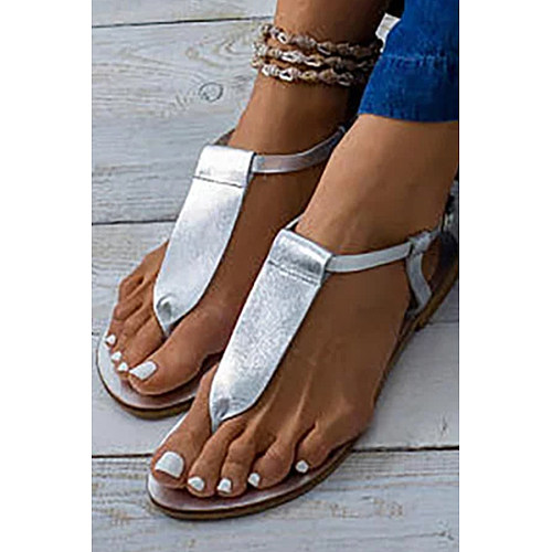 Plain Flat Peep Toe Flat Sandals