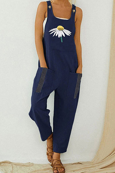 Sling Retro Printed Jumpsuit Loose Casual Slotted Jumpsuit