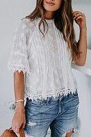 Sweet Solid Color Lace Round Neck Trumpet Sleeve Shirt