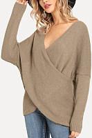 Casual female solid color v-neck off-shoulder sleeve loose sweater