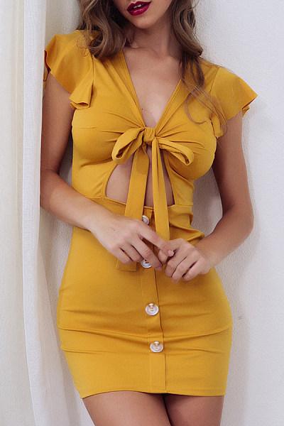 Deep V Neck  Bust Darts  Plain  Extra Short Sleeve Bodycon Dresses