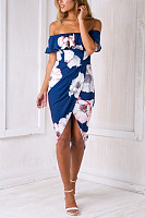 Off Shoulder  Slit  Floral Printed Bodycon Dresses