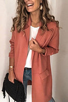 Notch Lapel Plain Casual Blazer