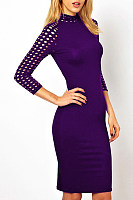 High Neck Hollow Out Fitted Three Quarter Sleeve Bodycon Dress