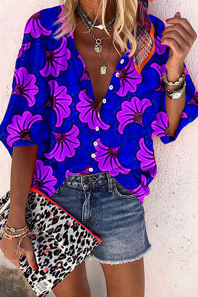 Casual V Neck Single-Breasted Floral Pattern Shirt
