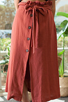 Slit  Plain Basic Skirts