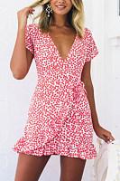 Deep V Neck  Asymmetric Hem  Belt Loops  Print  Short Sleeve Bodycon Dresses