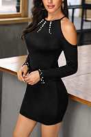 Round Neck  Beading  Plain Bodycon Dresses