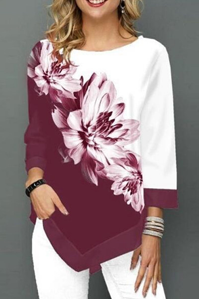 Round Neck Long Sleeve Floral T-Shirt