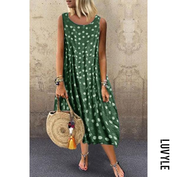 Green Bohemian Polka Dot Round Neck Sleeveless Dress Green Bohemian Polka Dot Round Neck Sleeveless Dress