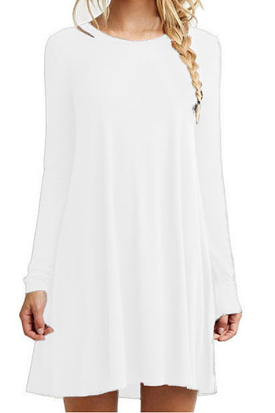 Round Neck Long Sleeve Plain Dress