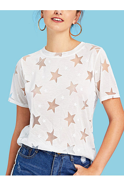 Casual Printed Colour Round Neck Hollow Out See-Through T-Shirt