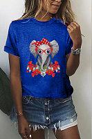Elephant Printed Round Neck T-shirt
