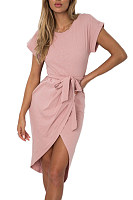 Crew Neck  Asymmetric Hem  Belt  Plain  Batwing Sleeve  Extra Short Sleeve Casual Dresses