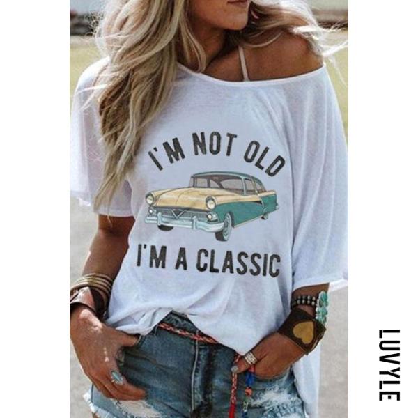 Car Letters Round Neck T-shirt