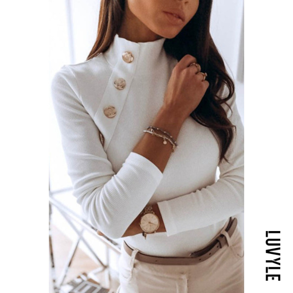 Casual High Collar White Decorative Button Slim Long-sleeved T-shirt - from $25.00