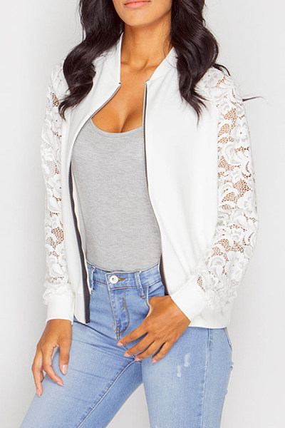 Decorative Lace  Plain Basic  Jackets