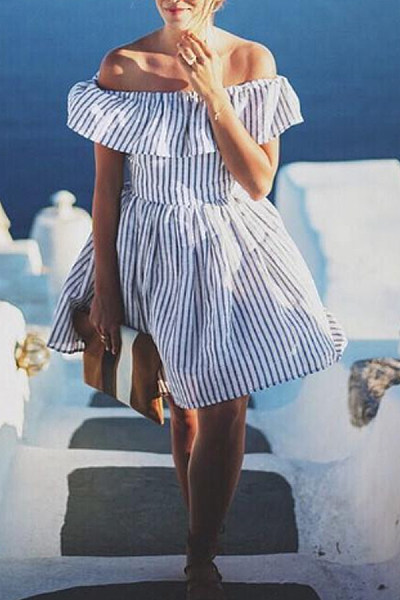 Off Shoulder  Stripes  Short Sleeve Skater Dresses