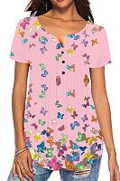 Round Neck Butterfly Print Buttons Short Sleeve T-shirt