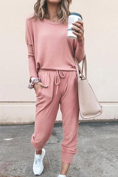Plain Casual Two-piece Outfits