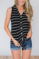 V Neck  Single Breasted  Striped Camis