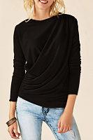 Round Neck  Plain Pleated Bodice T-Shirts