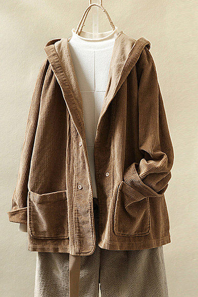 Retro pure color single-breasted corduroy hooded overcoat