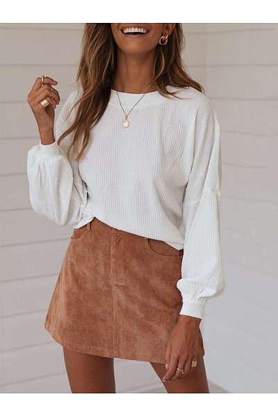 Loose Long Sleeved Solid Color   Striped Sweater Top