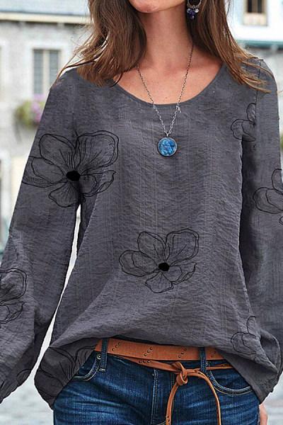 Round Neck Flower Print Long Sleeve T-shirt