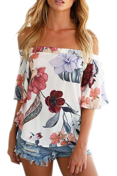 Off Shoulder  Floral Printed T-Shirts