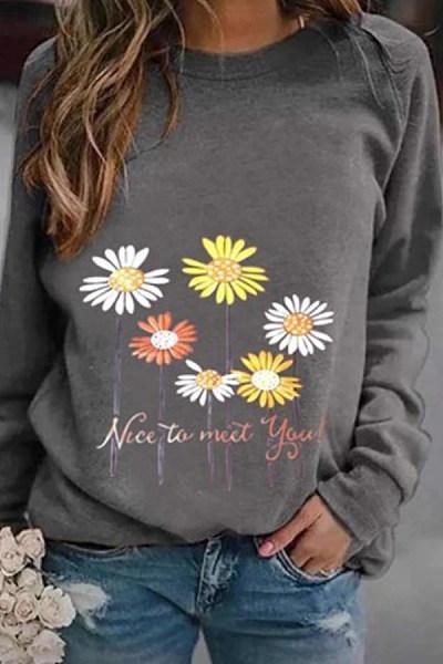 Floral Round Neck Casual Sweatshirt
