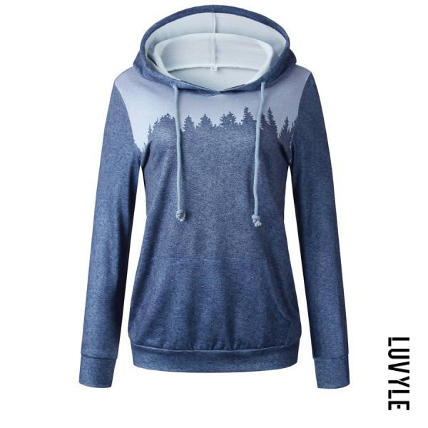 Casual Long Sleeve Printed Hooded Sweatshirt - from $22.00