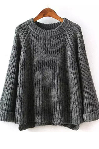 Round Neck  Side Vented  Plain Sweaters