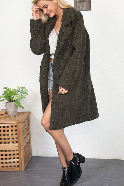 Warm Lapel  Plain Outerwear