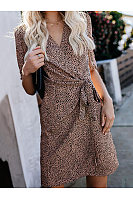 Commuting V Neck Halflong Sleeve Leopard Print Belted Dress