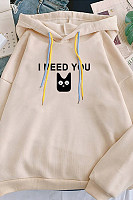 Women's Letters Cat Casual Hoodie