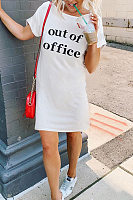 Round Neck  Letters  Roll Up Sleeve  Short Sleeve Casual Dresses