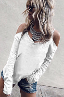 V Neck  Cutout  Plain T-Shirts