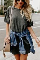 Round Neck  Beading  Plain  Batwing Sleeve  Short Sleeve Casual Dresses