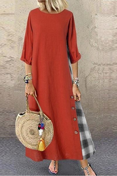 Round Neck Colouring Plaid Maxi Dress