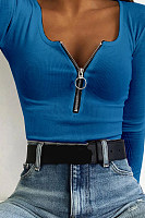 Casual Stretch Stretch Zipper T-Shirt