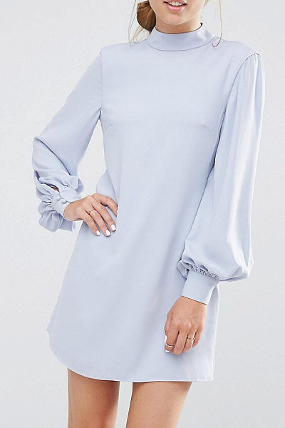 High Neck  Back Hole  Plain  Lantern Sleeve Casual Dresses