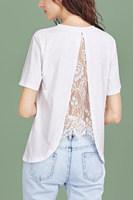 Crew Neck  Decorative Lace  Plain T-Shirts