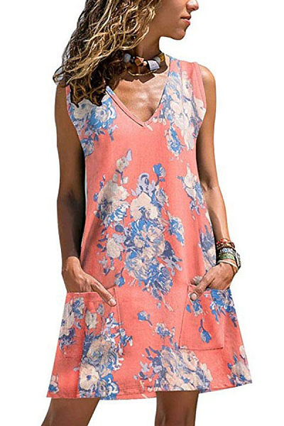 V Neck Sleeveless Floral Printed Casual Dresses
