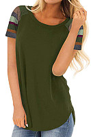 Round Neck  Patchwork  Patchwork Plain T-Shirts