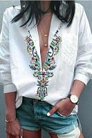 Sexy V Collar Printed Shirt