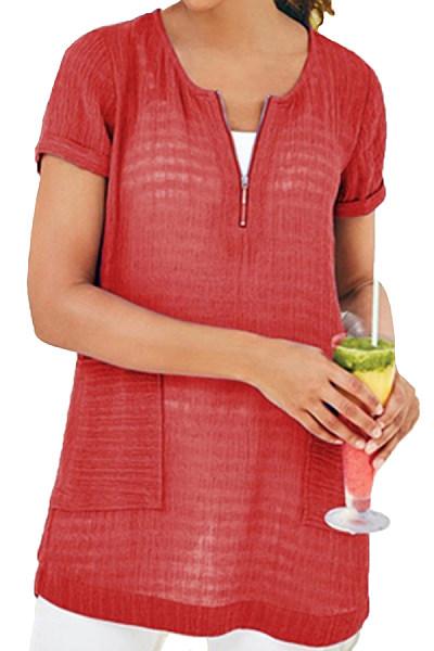 Round  Neck  Patchwork  Brief  Plain  Short Sleeve T-Shirts
